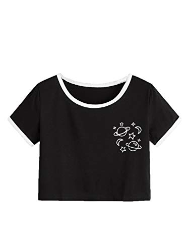 SweatyRocks Women's Short Sleeve Graphic Print Crop Top Casual T Shirt Black S