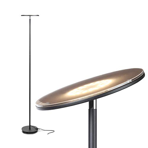 Brightech Sky Flux - The Very Bright LED Torchiere Floor Lamp, for Your Living Room & Office - Halogen Lamp Alternative with 3 Light Options Incl. Daylight - Dimmable Modern Uplight- Black
