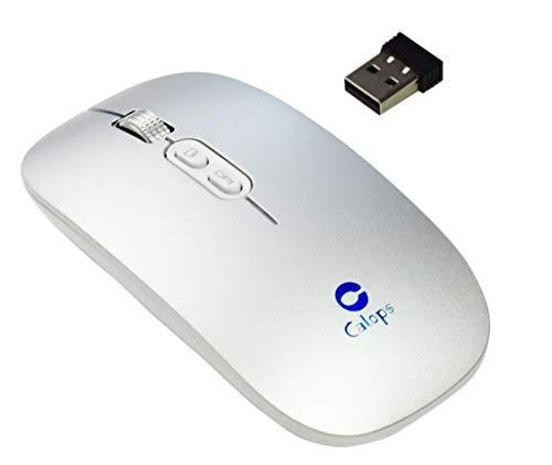 Mouse Wireless Ricaricabile, Mouse Ottico Mini Silenzioso con Clic Mute, 1600 Dpi Ultra Sottile per Notebook, PC, Laptop, Computer, MacBook (Argento)