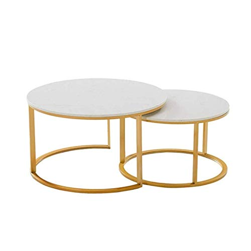 BHJqsy Nordic golden marble coffee table Simple wrought iron living room sofa side coffee table combination - metal frame Nest Tables