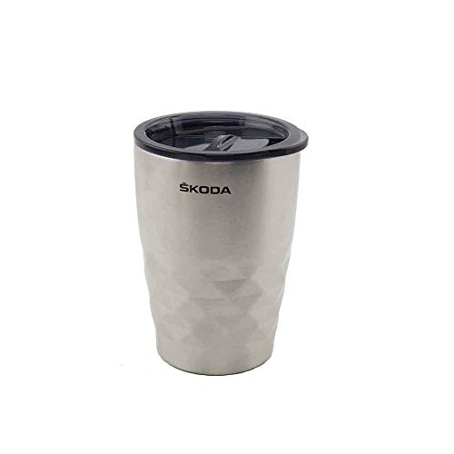 Skoda MVF04-237 Becher Isolierbecher Rautenmuster Kaffeebecher 350ml Silber
