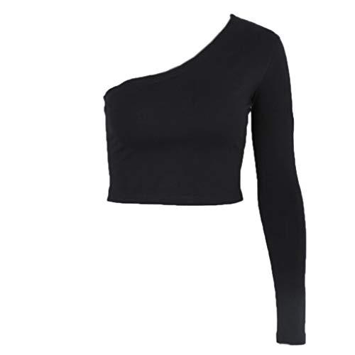 VIccoo Schulteroberteil, One Shoulder Women Langarm Crop Top Bluse Shirt Slim Sexy T-Shirt Casual - Schwarz - S