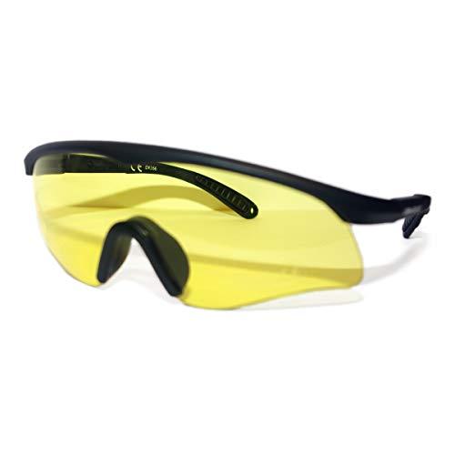 Cobra Taktische Airsoft Brille | Antibeschlag- und Kratzschutz Schießbrille | Schutzbrille | Arbeits- und Ballistikgläser mit schwarzem Rahmen und gelben Gläsern