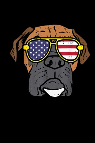 Boxer Dog Sunglasses American USA 4th Of July Fourth Dog Lined Notebook: Independence Day Themed Blank Notebook Journal for Writing Note Diary