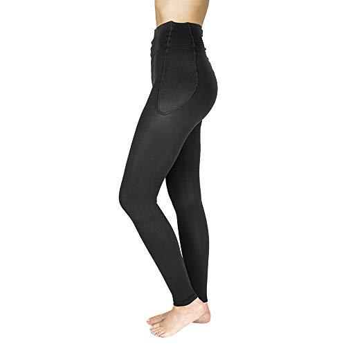 RejuvaWear leggings de compresión sin pie., FLEG1520L-BL, L, Negro, 1, 1