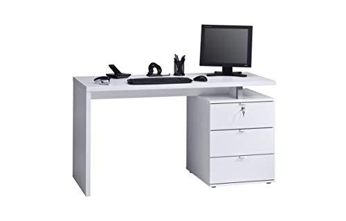 MAJA Möbel Schreib- und Computertisch, Holzdekor, ICY-weiß - Weiß Hochglanz, 140,00 x 60,00 x 75,00 cm