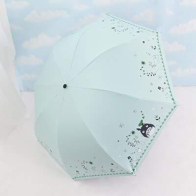 BDWS Regenschirm Korea Small Fresh dreimal schwarz Kunststoff Anti-UV-Regenschirm Regen weiblich Sonne Totoro Sonnenschutz Student DOSClaro Regenschirm1