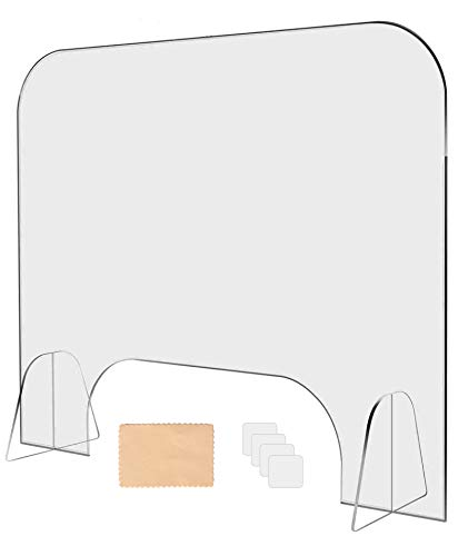 Wozacy portable Plexiglass Shield for counter, Clear Sneeze Guard for Counter, Freestanding Plexiglass barrier for counter desk 31.5' W x 23.5' H x1/5'