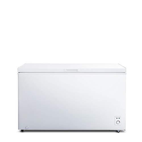 CHiQ FCF400D Gefrierschrank Groß 400 L | Gefriertruhe mit statischem Kühlungsystem | Tiefkühlschrank | 83,5 x 136,5 x 73 cm (HxBxT) | F Energieverbrauch 329 kWh/Jahr | Großer Tiefkühler | Leise 41db