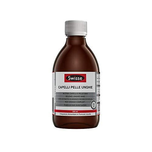 Swisse Capelli Pelle Unghie, Integratore Alimentare con Biotina, selenio, silicio ed estratto di arancia rossa. 300 ml