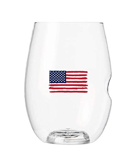 Govino American Flag Flexible Shatterproof Recyclable Wine Glasses, 16-ounces (2 Pack)