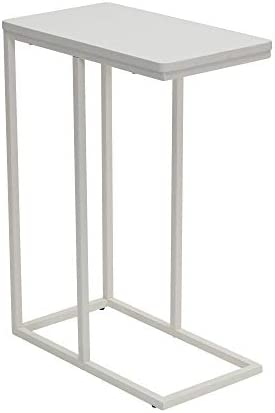 Household Essentials White Industrial Narrow End Table Metal C Shaped Frame and Rectangle Wood product image
