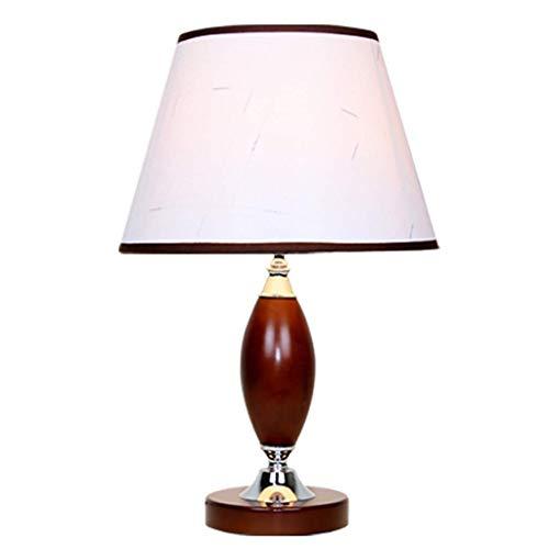Schlafzimmer Tischlampe, Massivholz dekorative Tischlampe, Retro Wohnzimmer Schlafzimmer Hotel Nachttischlampe, kreative Rugby-förmige Kunst Lampenkörper mit eleganten Tuch Lampenschirm Design, hohe
