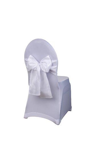 Schleifenband aus Taft für Stuhlhussen und Stehtischhussen in verschiedenen Farben (Weiß)