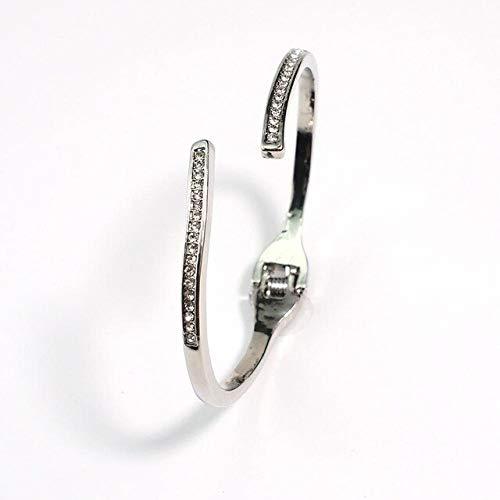 XSZPKL Pulsera de Diamantes de imitación Simple Mujer Moda Aleación de Color Plata Dorada Accesorios de Pulsera con Brazalete de Encanto único