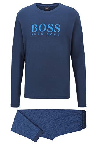 BOSS Herren Relax Long Set Pyjama aus Baumwolle mit Logo-Details in Geschenkbox