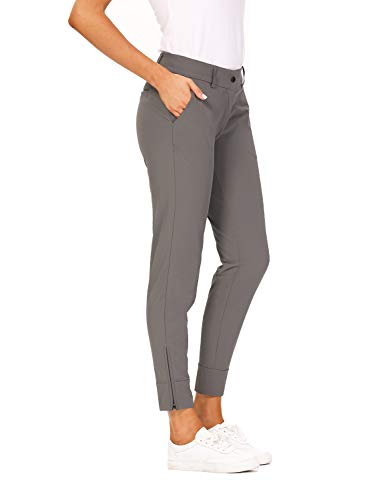 Hiverlay Womens pro Golf Pants Quick Dry Slim Lightweight Work Pants with Straight Ankle Also for Hiking or Casual Ladies,Gray-s