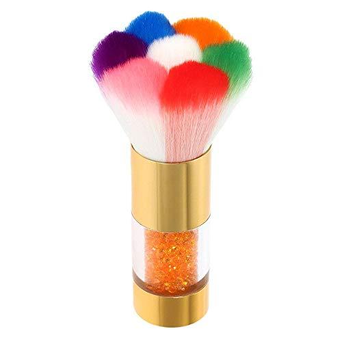 Nail Art Dust Remover Brush Anself Nail Cleaner For Acrylic Gel UV Nail Powder Brush Rhinestones Makeup Foundation Brush Tool - Gold