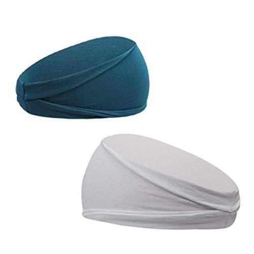 Nescop 2 diademas deportivas para yoga, diadema, elástica, absorbente de sudor, unisex, para correr, antideslizante, 2 unidades