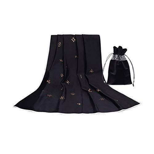 LOVIVER Mantel de Tarot con bolsa de Tarot tarjetas de divinización tapiz de tela de mesa bolsa contenedor para decoración de habitación - Negro