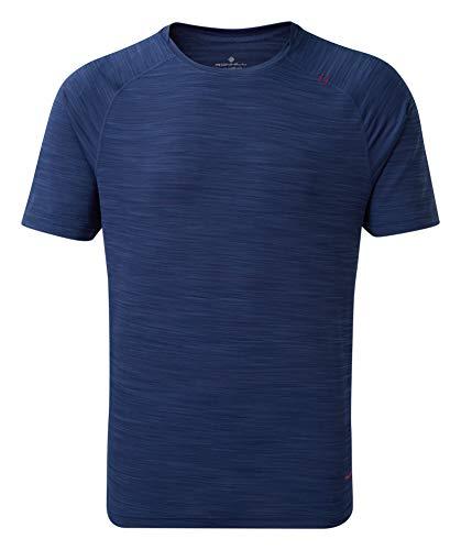 Ronhill T-Shirt pour Homme Infinity Air-Dry S/S S Bleu Nuit/Flamme.