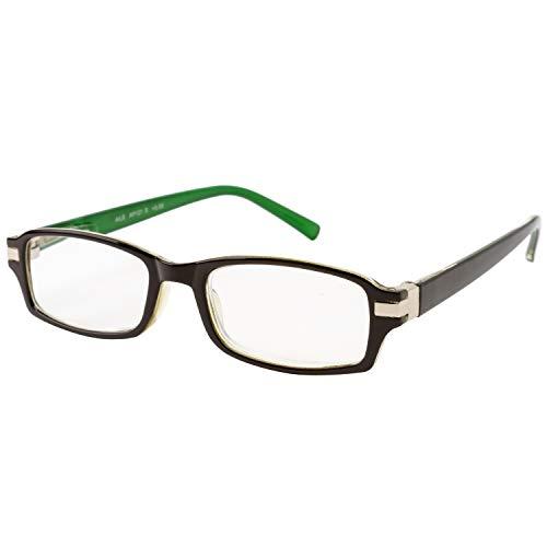 エール 老眼鏡 3.0 度数 プラスチックフレーム バネ蝶番 ブラウン グリーン AP121S