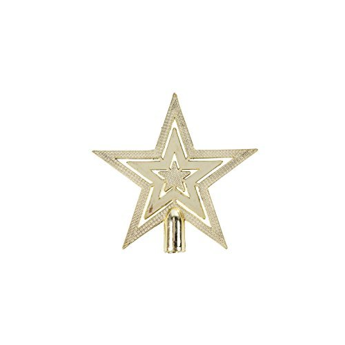 Robelli Mini 10cm Gold Shiny Embossed Star Christmas Tree Topper Decoration