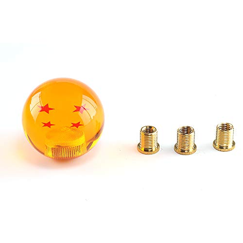 Top10 Racing Dragon Ball Z Star Manual Stick Shift Knob with Adapter Fits Most Cars 1-7 Stars 54MM (4 Star)