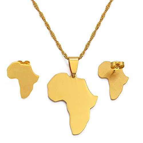 Kkoqmw Conjuntos de mapas de África, Collar y Pendientes con Colgante, Color Dorado/Plateado, mapas africanos, Conjunto de Joyas para Mujeres