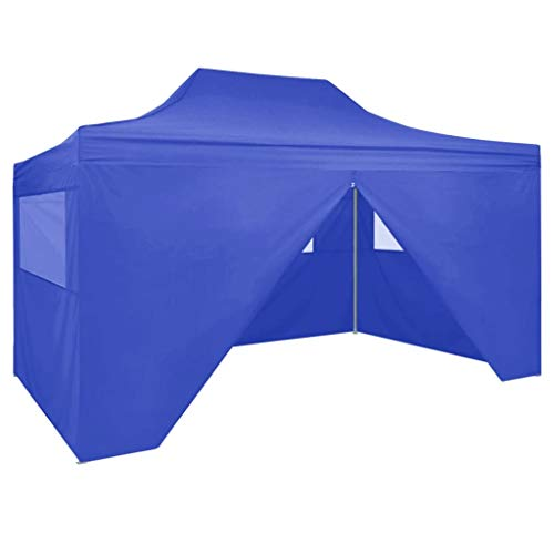 Lechistan Professional Folding Party Tent with 4 Side Walls Gazebo Garden Pavilion Waterproof UV Protection Pavilion for Garden Patio Celebration 3×4m Steel Blue