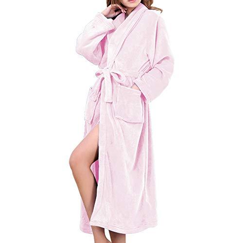 バスローブ レディース メンズ 厚手 部屋着 お風呂上がり ルームウェア フランネル HOMEYA ボディタオル パジャマ 綿 ふわふわ 暖か 男女兼用 カップル ロング ガウン 腰ベルト付き カップルバスローブ ピンク L