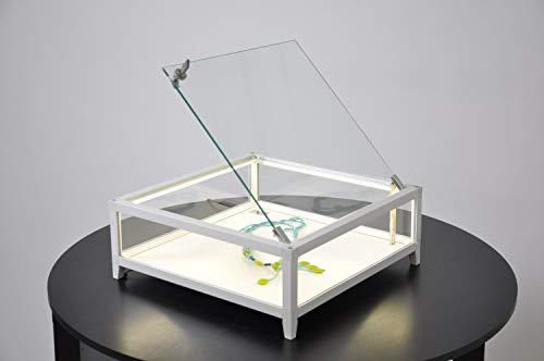 MHN kleine platte vierkante tafel presentatievitrine verlicht met slot 42 cm zilver
