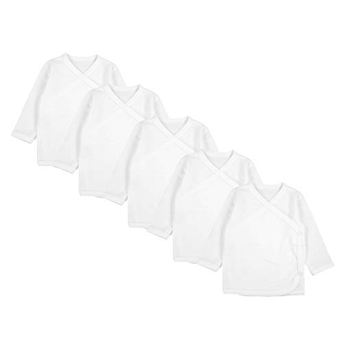 TupTam Unisex Baby Langarm Wickelshirt 5er Set, Farbe: Weiß, Größe: 56
