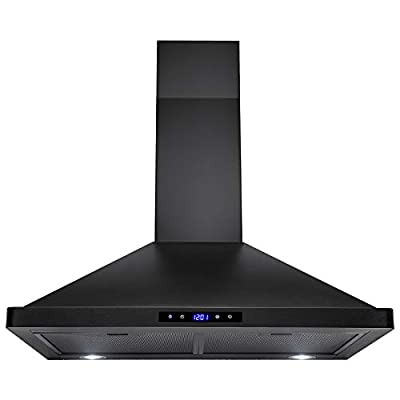 AKDY Convertible Kitchen Wall Mount Range Hood in Black Painted Stainless Steel with Lights