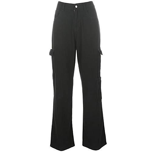 AOZLOVEC Pocket Damen Jeans Streetwear High Waist Jeans Vintage Straight Denim Hose Cargo Pants L Schwarz