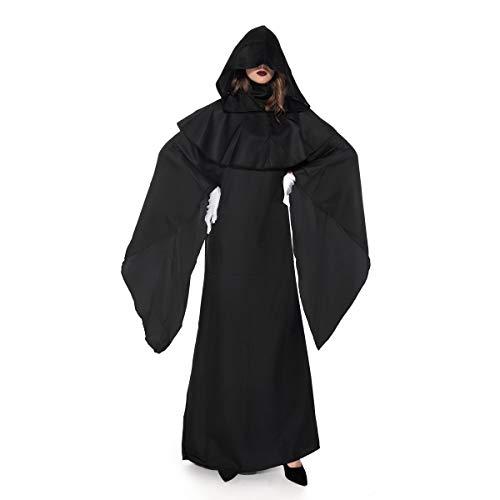 YCLOTH Disfraz de Halloween, batas negras, trajes de rendimiento escénico, bata con capucha, unisex, vestido largo de fregona, color negro, L