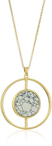 Ben-Amun Jewelry Women's Mod Circle Howlite Stone Pendant Long Gold Necklace, One Size