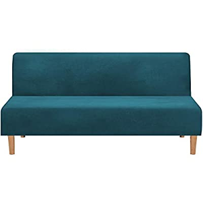 Real Velvet Futon Cover Armless Sofa Covers Sofa Bed Covers Stretch Futon Couch Cover Sofa Slipcover Furniture Protector Feature Thick Soft Cozy Velvet Fabric Form Fitted Stay in Place, Deep Teal
