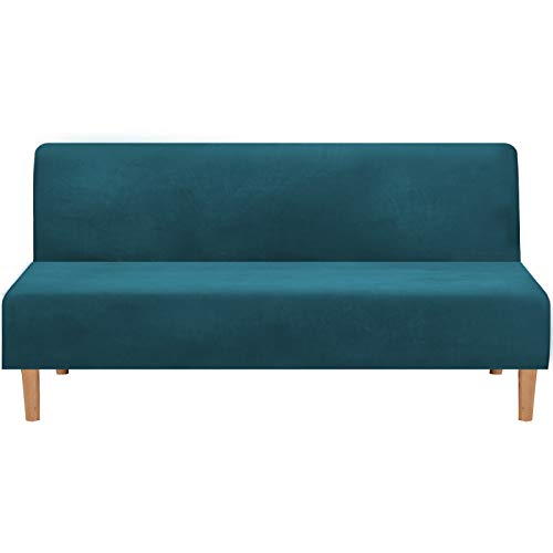 Real Velvet Plush 1 Piece Futon Sofa Bed Cover Stretch Sofa Slipcover Armless Sofa Cover Furniture Protector with Elastic Bottom Form Fitted Skid Resistance Washable, Futon, Deep Teal