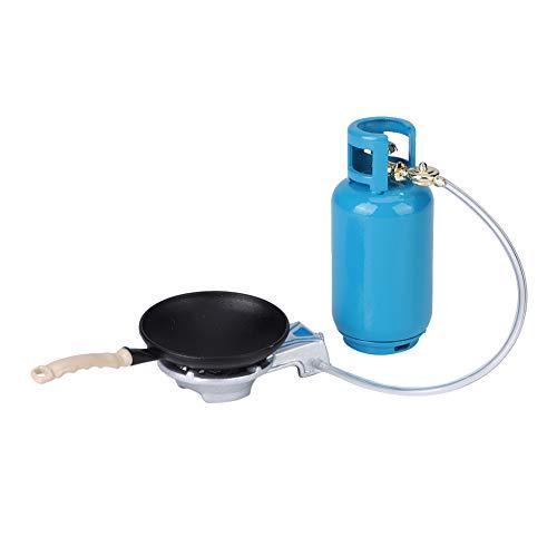 Zerodis Estufa de Gas para casa de muñecas 1:12, Juego de Juguete en Miniatura con Tanque de Gas en Miniatura DIY con Olla y Pala(Tanque de Gasolina en Miniatura)