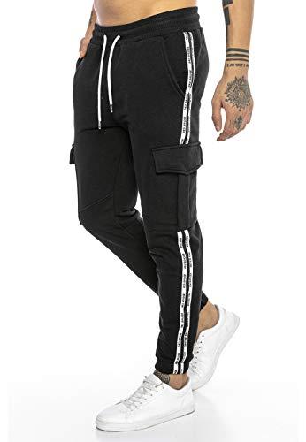 Redbridge Pantalone da Tuta Uomo Joggers Sweat-Pants Stile Cargo con Tasche Nero S