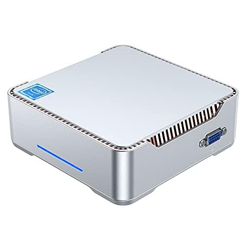 Mini PC Windows 10 Pro, Intel Celeron N3350 Mini Desktop PC 4 GB DDR3 64 GB eMMC, Mini ordenador compatible con 4K HD, HDMI/VGA Port 3, Dual WLAN, Gigabit Ethernet, BT4.2