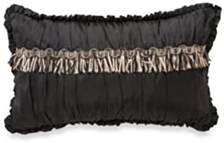 Waterford Linens Ormonde Decorative Breakfast Toss Pillow, 12 by 20 Inches, Black/Gold Fringe
