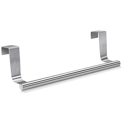 YKW Soportes de Barra de Toalla de Toalla de Acero Inoxidable para Ajuste Universal en el Paquete de Puertas de Armario de gabinete de 2 (Color : Silver)