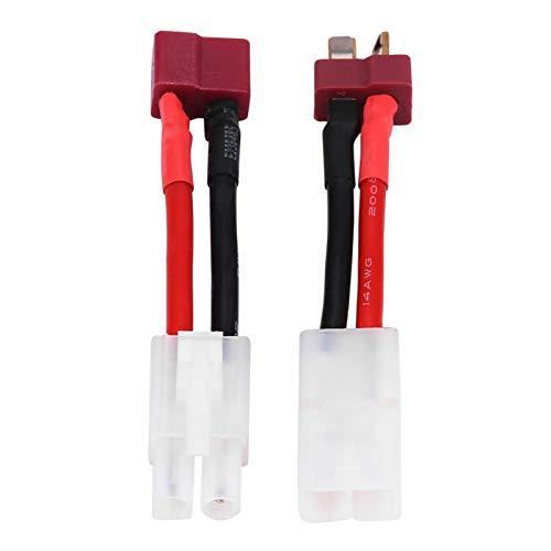 Wosune T-Stecker-Buchse an Tamiya-Stecker-Kabel, T-Stecker an Tamiya-Kabel, 14 AWG-Kabel Praktisch 2 Stück/Set 16 g für die meisten Ladegeräte RC-Zubehör