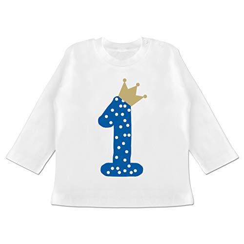 Shirtracer Geburtstag Baby - 1. Geburtstag Krone Junge Erster - 6/12 Monate - Weiß - Shirt 1. Geburtstag Junge Langarm - BZ11 - Baby T-Shirt Langarm