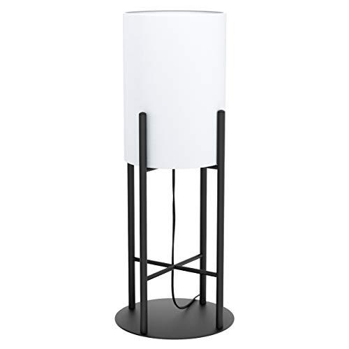 EGLO Tischlampe Glastonbury, 1 flammige Tischleuchte Modern, Nachttischlampe aus Stahl und Textil, Wohnzimmerlampe in schwarz, weiß , Lampe mit Schalter, E27 Fassung