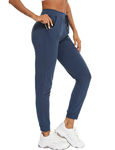 Damen Jogginghose Sportswear-Hosen Casual Sweathose Baumwolle Yogahose Sporthosen Athletic-Pants Vier Jahreszeiten 98/100/101.5/103/104.5cm Navy Blau S