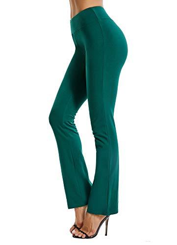 INSTINNCT Damen Hose Jogginghose Freizeithose Schlaghosen Weites Straight Bein ohne Tunnelzug #2 Grün (Gummibund ohne Kordel) L