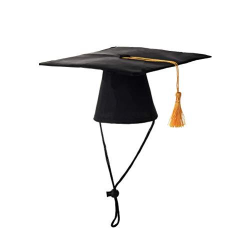 POPETPOP Pet Graduation Cap Dog Grad Hat with Yellow Tassel for Dogs Cats Graduation Costume Party Favor (Black)
